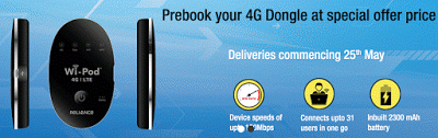 Reliance Communications Launches 4G LTE WiFi Device At Rs. 2,699/-