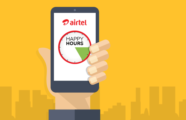Airtel 'Happy Hours'  get Packs at Discount, 50% Data Back for Prepaid Users